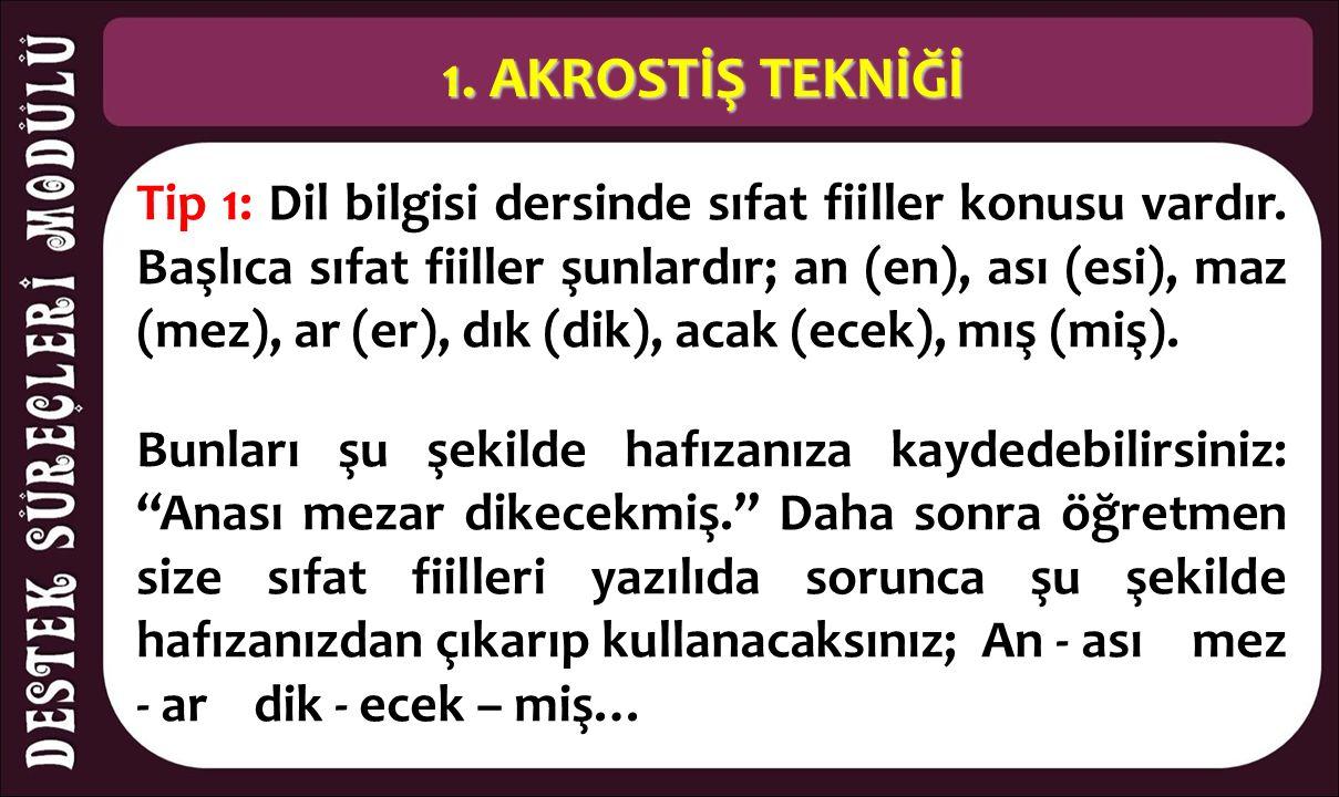 1. AKROSTİŞ TEKNİĞİ Tip 1: Dil bilgisi dersinde sıfat fiiller konusu vardır. Başlıca sıfat fiiller şunlardır; an (en), ası (esi), maz (mez), ar (er),