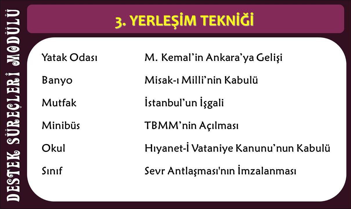 3. YERLEŞİM TEKNİĞİ Yatak OdasıM. Kemal'in Ankara'ya Gelişi BanyoMisak-ı Milli'nin Kabulü Mutfakİstanbul'un İşgali MinibüsTBMM'nin Açılması OkulHıyane