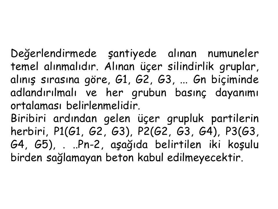 Değerlendirmede şantiyede alınan numuneler temel alınmalıdır. Alınan üçer silindirlik gruplar, alınış sırasına göre, G1, G2, G3,... Gn biçiminde adlan