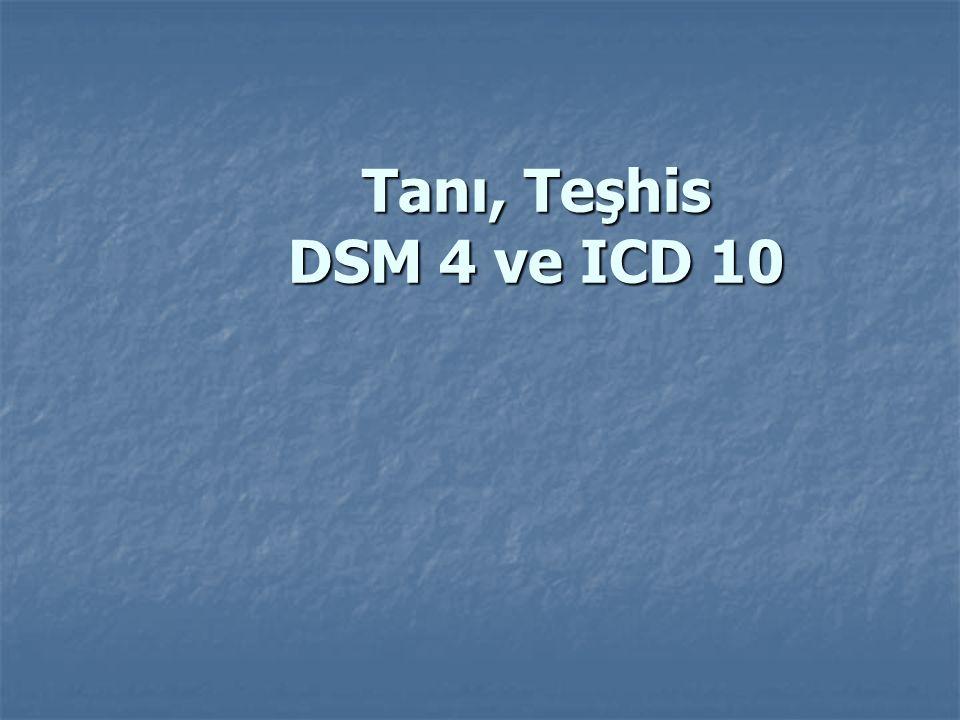 Tanı, Teşhis DSM 4 ve ICD 10