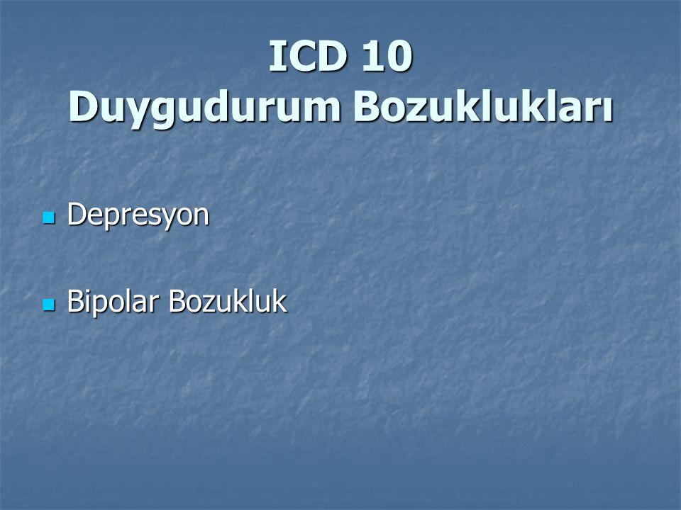 ICD 10 Duygudurum Bozuklukları Depresyon Depresyon Bipolar Bozukluk Bipolar Bozukluk