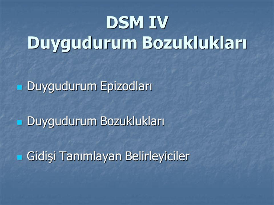 DSM IV Duygudurum Bozuklukları Duygudurum Epizodları Duygudurum Epizodları Duygudurum Bozuklukları Duygudurum Bozuklukları Gidişi Tanımlayan Belirleyi