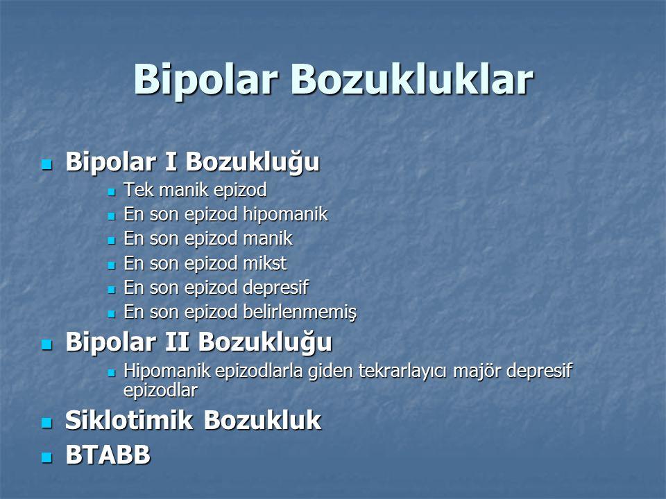 Bipolar Bozukluklar Bipolar I Bozukluğu Bipolar I Bozukluğu Tek manik epizod Tek manik epizod En son epizod hipomanik En son epizod hipomanik En son e