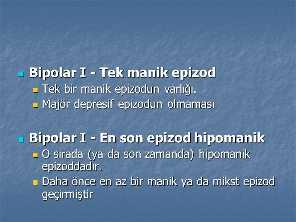 Bipolar I - Tek manik epizod Bipolar I - Tek manik epizod Tek bir manik epizodun varlığı. Tek bir manik epizodun varlığı. Majör depresif epizodun olma