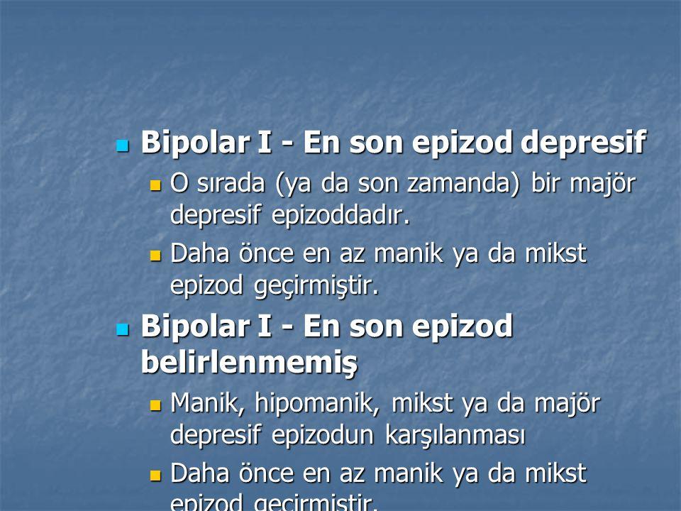 Bipolar I - En son epizod depresif Bipolar I - En son epizod depresif O sırada (ya da son zamanda) bir majör depresif epizoddadır. O sırada (ya da son
