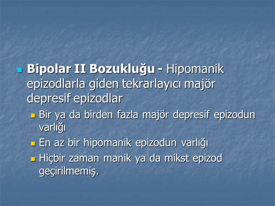 Bipolar II Bozukluğu - Hipomanik epizodlarla giden tekrarlayıcı majör depresif epizodlar Bipolar II Bozukluğu - Hipomanik epizodlarla giden tekrarlayı