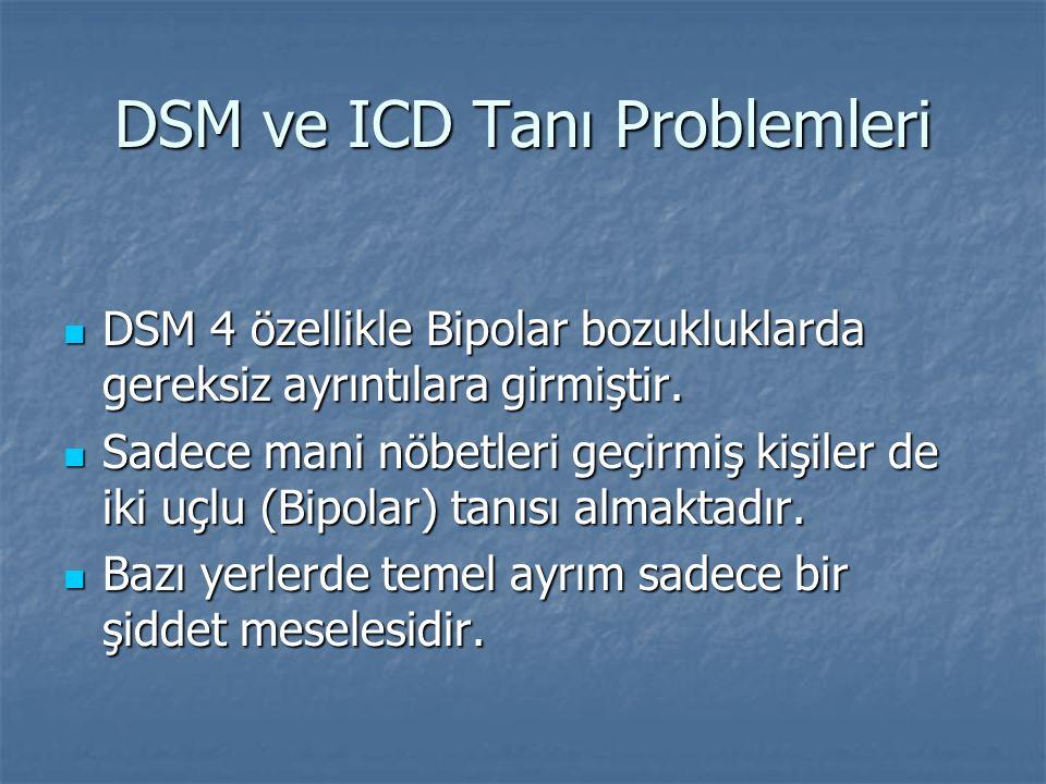 DSM ve ICD Tanı Problemleri DSM 4 özellikle Bipolar bozukluklarda gereksiz ayrıntılara girmiştir. DSM 4 özellikle Bipolar bozukluklarda gereksiz ayrın