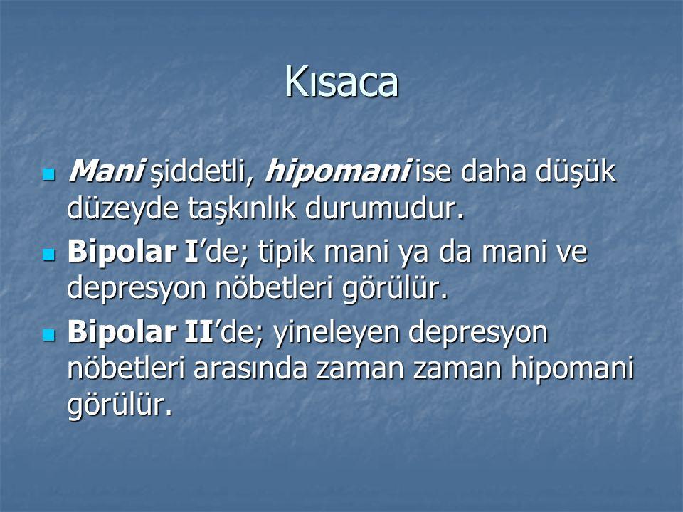 Kısaca Mani şiddetli, hipomani ise daha düşük düzeyde taşkınlık durumudur. Mani şiddetli, hipomani ise daha düşük düzeyde taşkınlık durumudur. Bipolar
