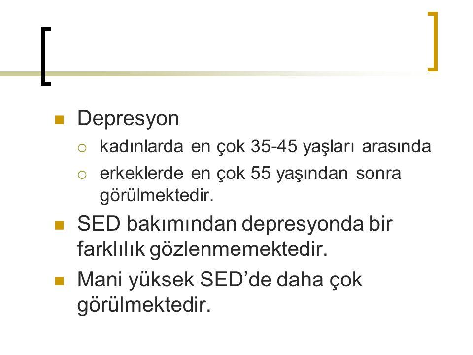 Depresyon  kadınlarda en çok 35-45 yaşları arasında  erkeklerde en çok 55 yaşından sonra görülmektedir. SED bakımından depresyonda bir farklılık göz