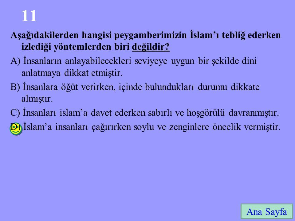 11 Ana Sayfa Aşağıdakilerden hangisi peygamberimizin İslam'ı tebliğ ederken izlediği yöntemlerden biri değildir.