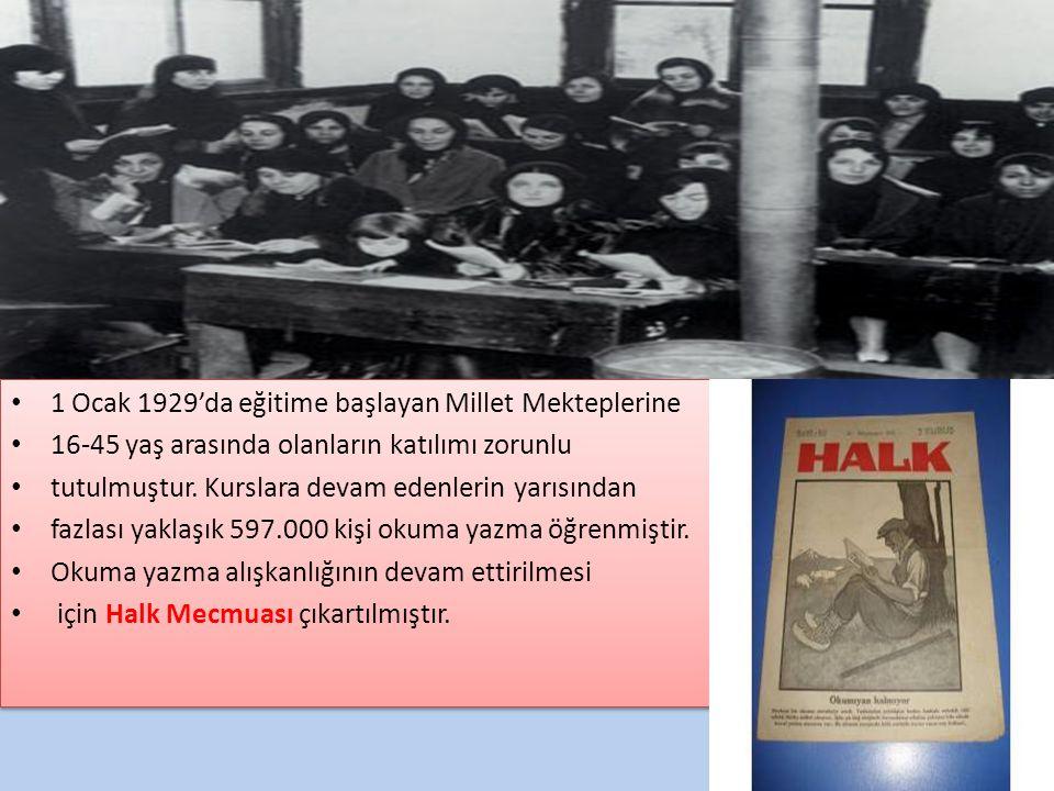 1 Ocak 1929'da eğitime başlayan Millet Mekteplerine 16-45 yaş arasında olanların katılımı zorunlu tutulmuştur. Kurslara devam edenlerin yarısından faz
