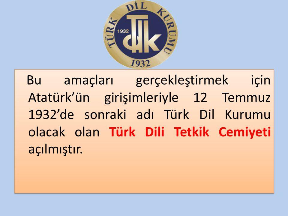 Bu amaçları gerçekleştirmek için Atatürk'ün girişimleriyle 12 Temmuz 1932'de sonraki adı Türk Dil Kurumu olacak olan Türk Dili Tetkik Cemiyeti açılmış