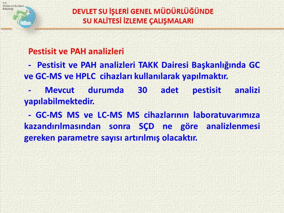 Pestisit ve PAH analizleri - Pestisit ve PAH analizleri TAKK Dairesi Başkanlığında GC ve GC-MS ve HPLC cihazları kullanılarak yapılmaktır.