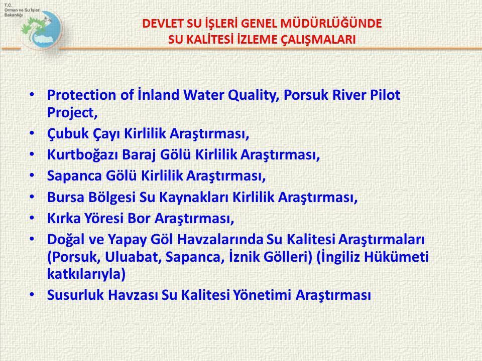 DEVLET SU İŞLERİ GENEL MÜDÜRLÜĞÜNDE SU KALİTESİ İZLEME ÇALIŞMALARI Protection of İnland Water Quality, Porsuk River Pilot Project, Çubuk Çayı Kirlilik Araştırması, Kurtboğazı Baraj Gölü Kirlilik Araştırması, Sapanca Gölü Kirlilik Araştırması, Bursa Bölgesi Su Kaynakları Kirlilik Araştırması, Kırka Yöresi Bor Araştırması, Doğal ve Yapay Göl Havzalarında Su Kalitesi Araştırmaları (Porsuk, Uluabat, Sapanca, İznik Gölleri) (İngiliz Hükümeti katkılarıyla) Susurluk Havzası Su Kalitesi Yönetimi Araştırması