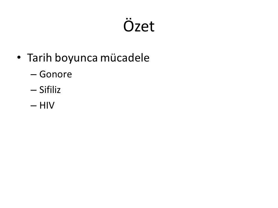 Özet Tarih boyunca mücadele – Gonore – Sifiliz – HIV
