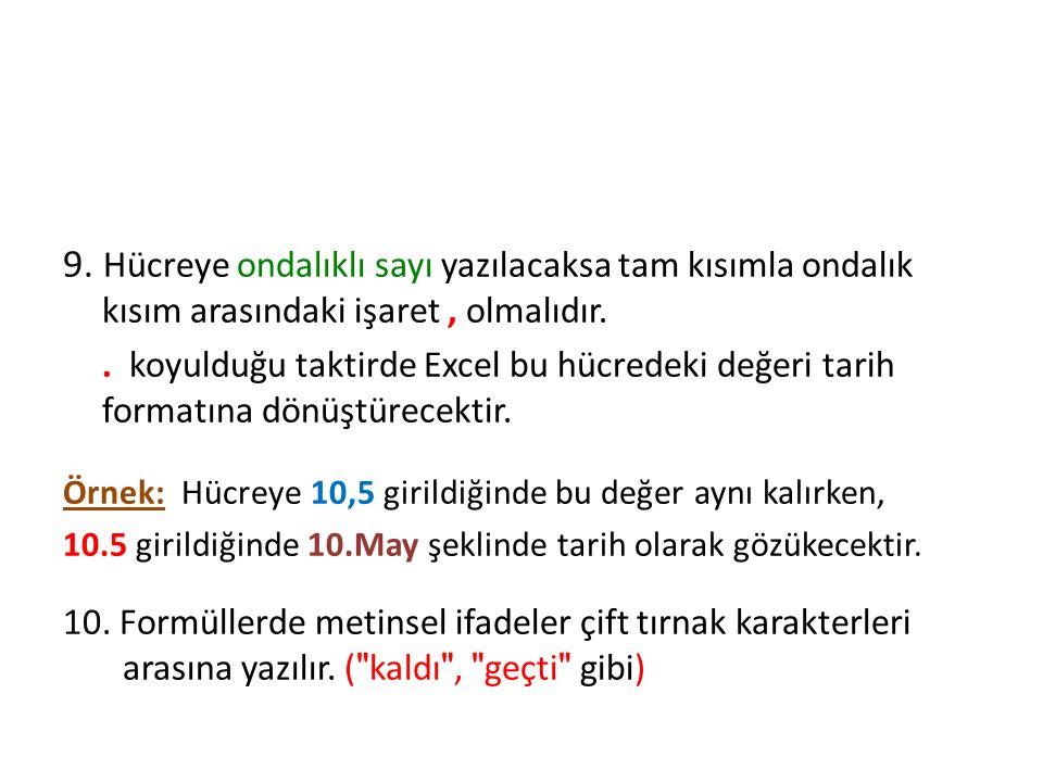 Excel' de Formül Oluşturma 9.
