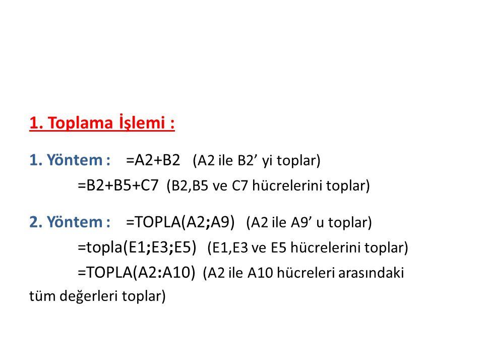 Formüller 1. Toplama İşlemi : 1.