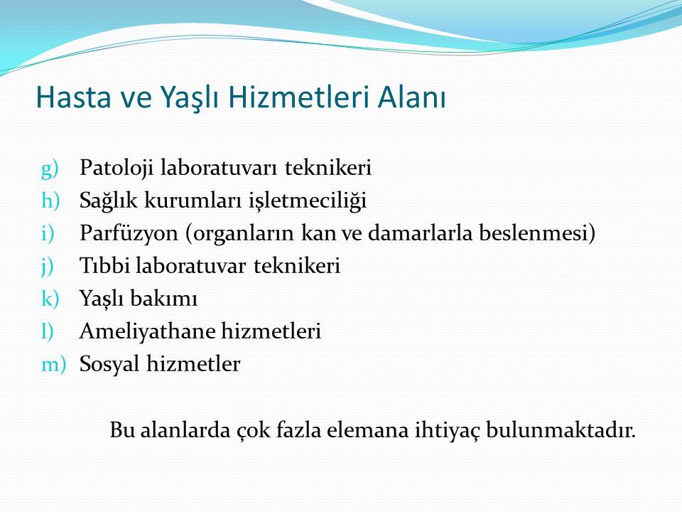 Hasta ve Yaşlı Hizmetleri Alanı g) Patoloji laboratuvarı teknikeri h) Sağlık kurumları işletmeciliği i) Parfüzyon (organların kan ve damarlarla beslen