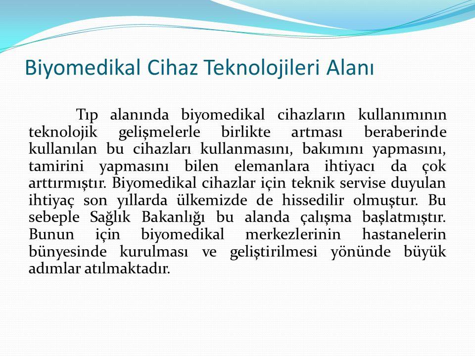 Biyomedikal Cihaz Teknolojileri Alanı Biyomedikal cihaz teknolojileri alanında 1.