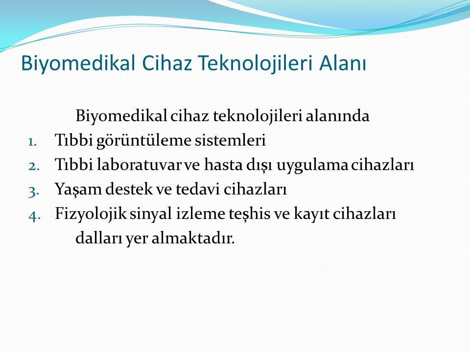 Biyomedikal Cihaz Teknolojileri Alanı Biyomedikal cihaz teknolojileri alanında 1. Tıbbi görüntüleme sistemleri 2. Tıbbi laboratuvar ve hasta dışı uygu