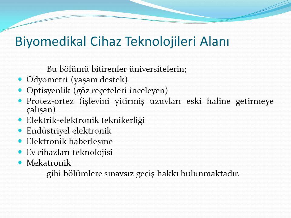 Biyomedikal Cihaz Teknolojileri Alanı Bu bölümü bitirenler üniversitelerin; Odyometri (yaşam destek) Optisyenlik (göz reçeteleri inceleyen) Protez-ort