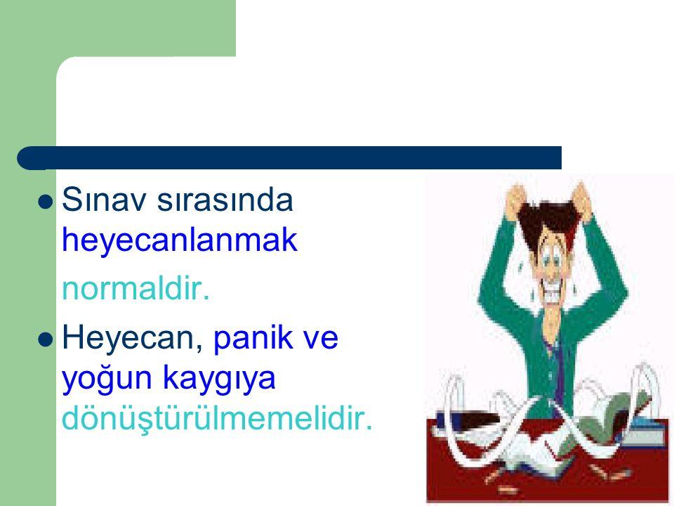 Ali PARMAKSIZ Sınav sırasında heyecanlanmak normaldir. Heyecan, panik ve yoğun kaygıya dönüştürülmemelidir.