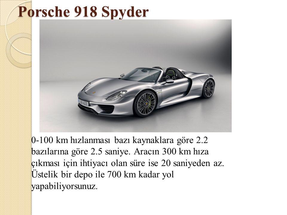 Porsche 918 Spyder 0-100 km hızlanması bazı kaynaklara göre 2.2 bazılarına göre 2.5 saniye. Aracın 300 km hıza çıkması için ihtiyacı olan süre ise 20