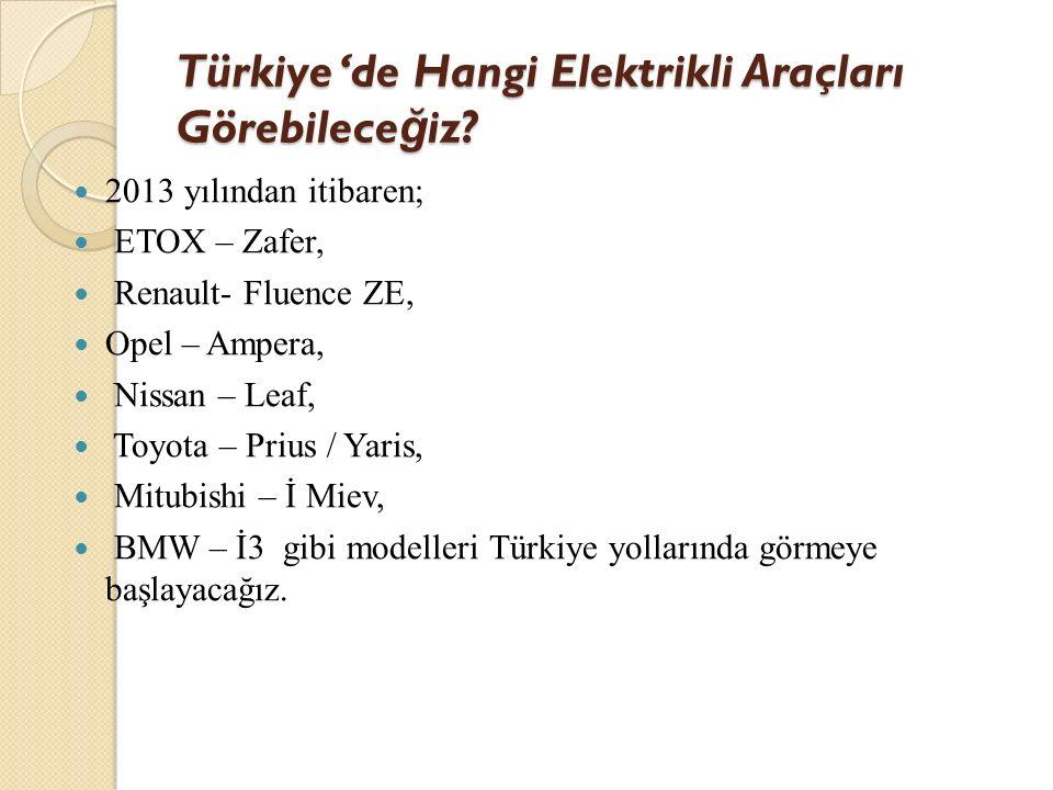 Türkiye 'de Hangi Elektrikli Araçları Görebilece ğ iz? 2013 yılından itibaren; ETOX – Zafer, Renault- Fluence ZE, Opel – Ampera, Nissan – Leaf, Toyota