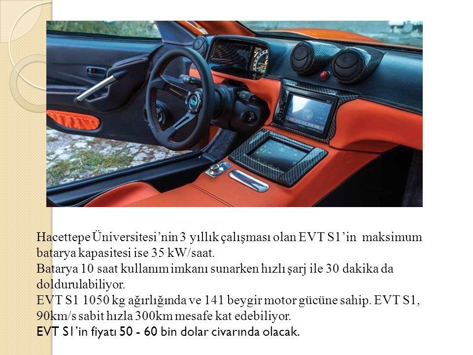 Hacettepe Üniversitesi'nin 3 yıllık çalışması olan EVT S1'in maksimum batarya kapasitesi ise 35 kW/saat. Batarya 10 saat kullanım imkanı sunarken hızl