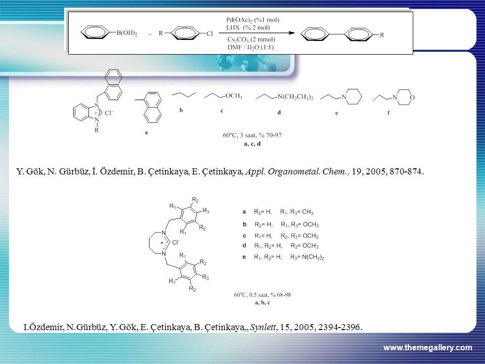 www.themegallery.com Y. Gök, N. Gürbüz, İ. Özdemir, B. Çetinkaya, E. Çetinkaya, Appl. Organometal. Chem., 19, 2005, 870-874. I.Özdemir, N.Gürbüz, Y. G