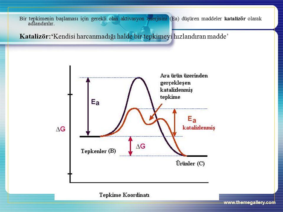 www.themegallery.com Bir tepkimenin başlaması için gerekli olan aktivasyon enerjisini (Ea) düşüren maddeler katalizör olarak adlandırılır.