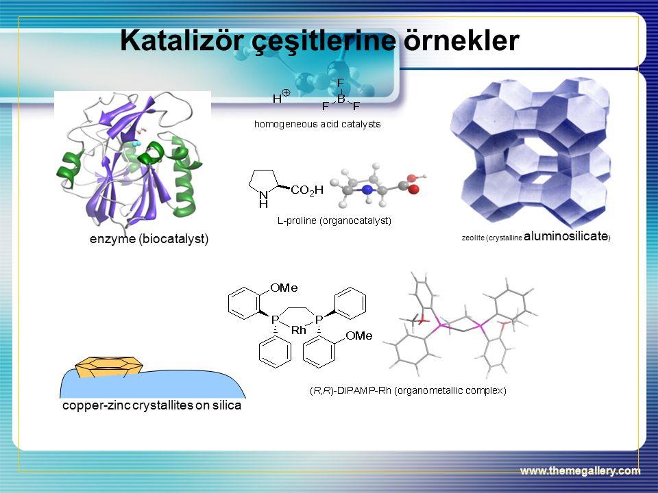 www.themegallery.com Katalizör çeşitlerine örnekler zeolite (crystalline aluminosilicate ) enzyme (biocatalyst) copper-zinc crystallites on silica