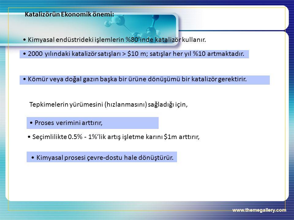 Katalizörün Ekonomik önemi: Kimyasal endüstrideki işlemlerin %80'inde katalizör kullanır.