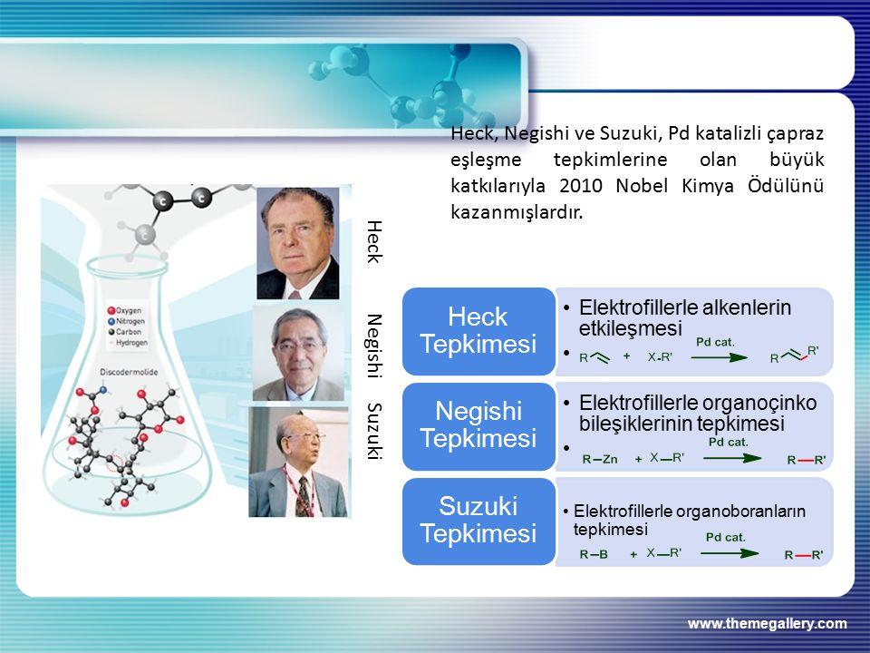 www.themegallery.com Heck, Negishi ve Suzuki, Pd katalizli çapraz eşleşme tepkimlerine olan büyük katkılarıyla 2010 Nobel Kimya Ödülünü kazanmışlardır.