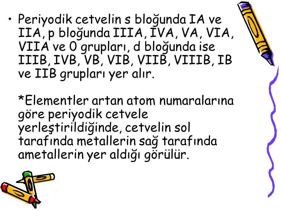 Periyodik cetvelin s bloğunda IA ve IIA, p bloğunda IIIA, IVA, VA, VIA, VIIA ve 0 grupları, d bloğunda ise IIIB, IVB, VB, VIB, VIIB, VIIIB, IB ve IIB