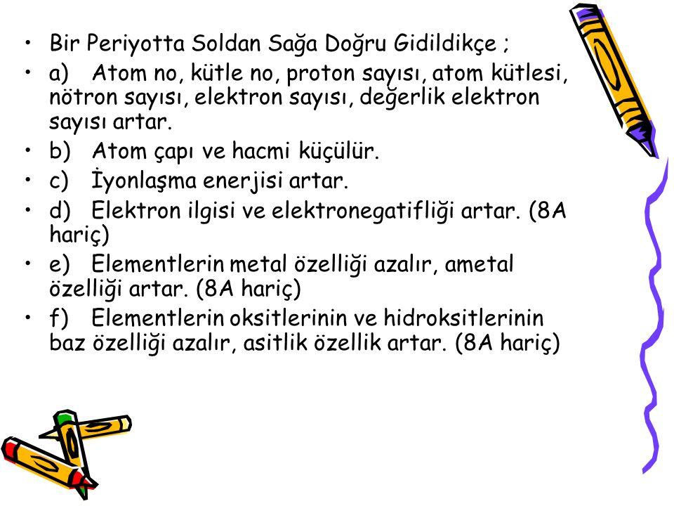 Bir Periyotta Soldan Sağa Doğru Gidildikçe ; a)Atom no, kütle no, proton sayısı, atom kütlesi, nötron sayısı, elektron sayısı, değerlik elektron sayısı artar.