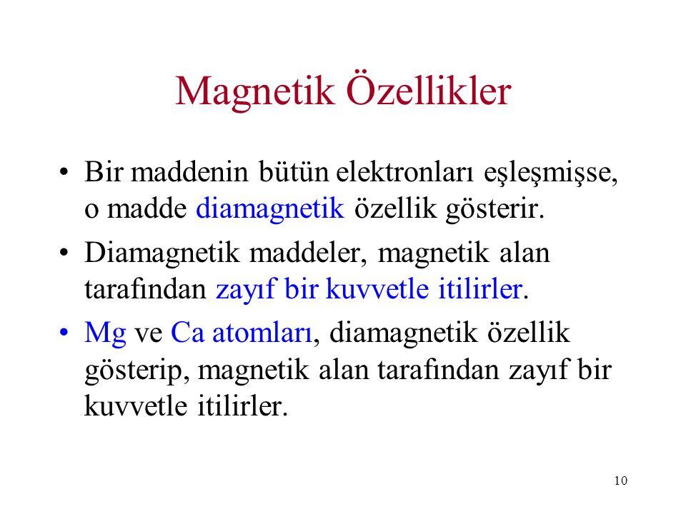 10 Magnetik Özellikler Bir maddenin bütün elektronları eşleşmişse, o madde diamagnetik özellik gösterir. Diamagnetik maddeler, magnetik alan tarafında