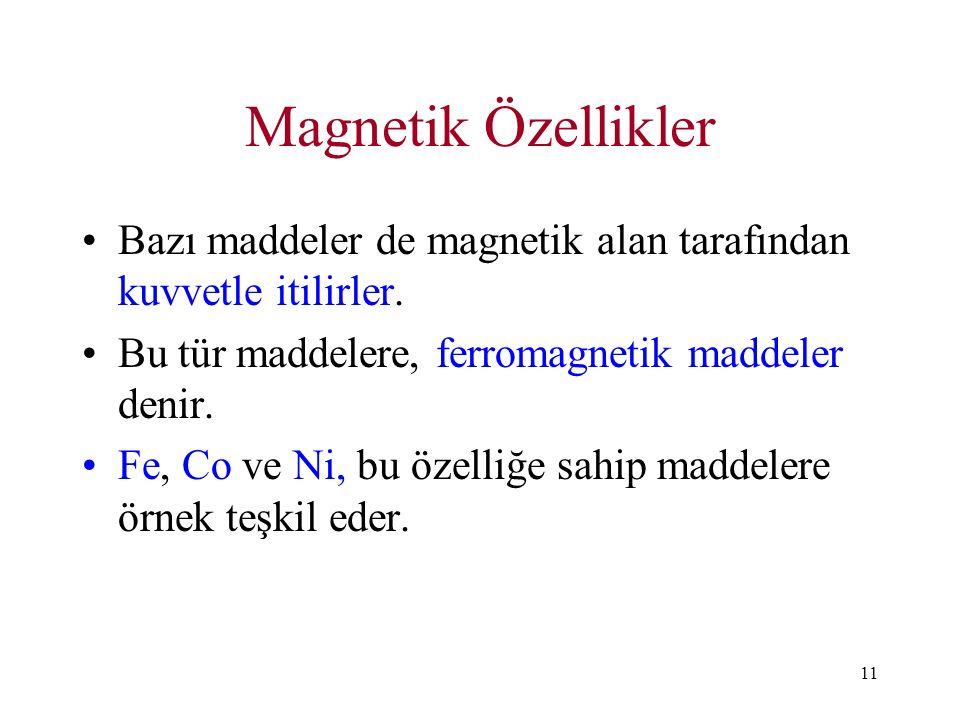 11 Magnetik Özellikler Bazı maddeler de magnetik alan tarafından kuvvetle itilirler. Bu tür maddelere, ferromagnetik maddeler denir. Fe, Co ve Ni, bu