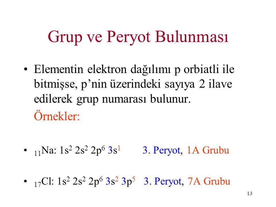 13 Grup ve Peryot Bulunması Elementin elektron dağılımı p orbiatli ile bitmişse, p'nin üzerindeki sayıya 2 ilave edilerek grup numarası bulunur. Örnek