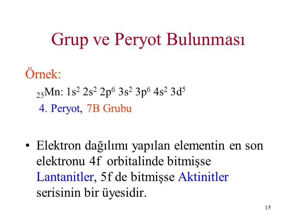 15 Grup ve Peryot Bulunması Örnek: 25 Mn: 1s 2 2s 2 2p 6 3s 2 3p 6 4s 2 3d 5 4. Peryot, 7B Grubu Elektron dağılımı yapılan elementin en son elektronu