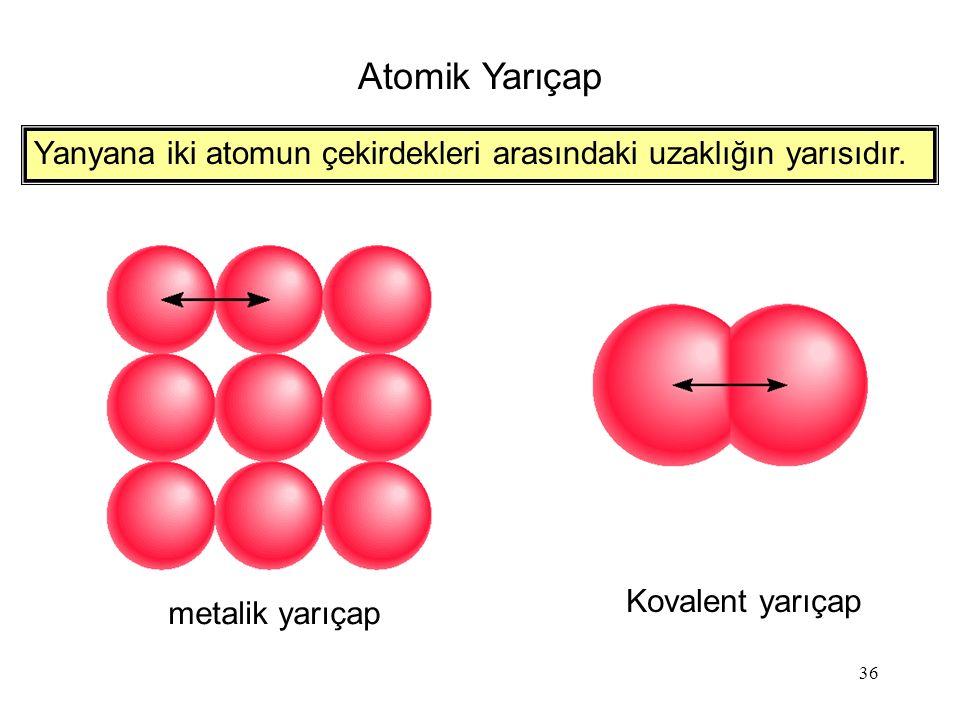 36 Atomik Yarıçap metalik yarıçap Kovalent yarıçap Yanyana iki atomun çekirdekleri arasındaki uzaklığın yarısıdır.