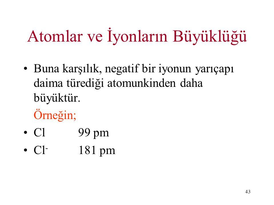 43 Atomlar ve İyonların Büyüklüğü Buna karşılık, negatif bir iyonun yarıçapı daima türediği atomunkinden daha büyüktür. Örneğin; Cl99 pm Cl - 181 pm