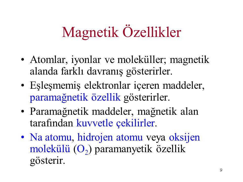 9 Magnetik Özellikler Atomlar, iyonlar ve moleküller; magnetik alanda farklı davranış gösterirler. Eşleşmemiş elektronlar içeren maddeler, paramağneti