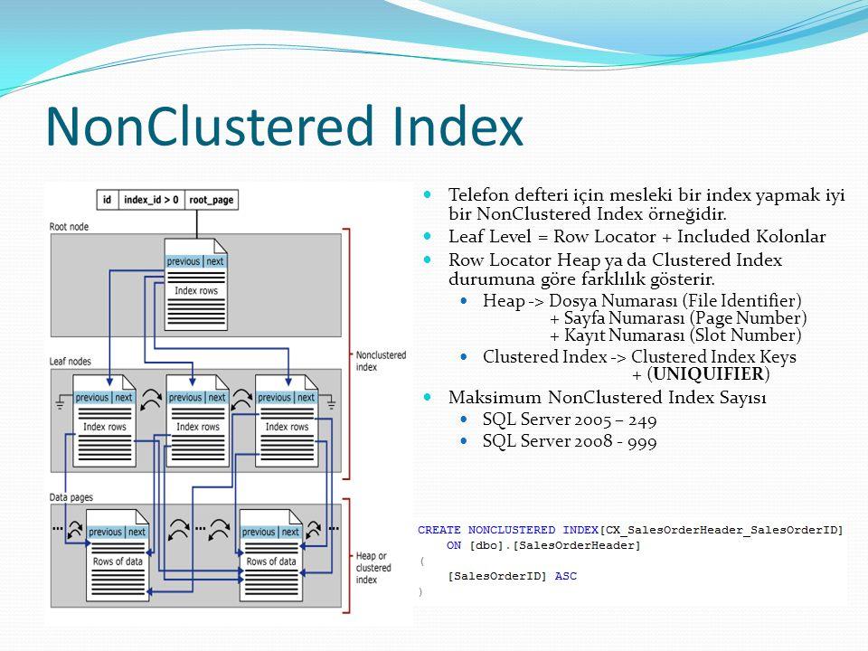 NonClustered Index Telefon defteri için mesleki bir index yapmak iyi bir NonClustered Index örneğidir.