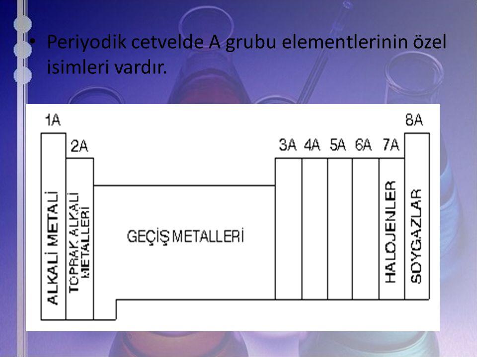 Periyodik cetvelde A grubu elementlerinin özel isimleri vardır.