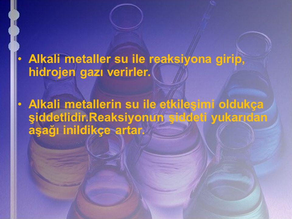 Alkali metaller su ile reaksiyona girip, hidrojen gazı verirler. Alkali metallerin su ile etkileşimi oldukça şiddetlidir.Reaksiyonun şiddeti yukarıdan