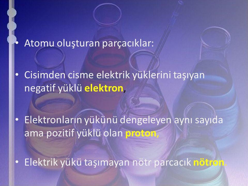 Atomu oluşturan parçacıklar: Cisimden cisme elektrik yüklerini taşıyan negatif yüklü elektron, Elektronların yükünü dengeleyen aynı sayıda ama pozitif