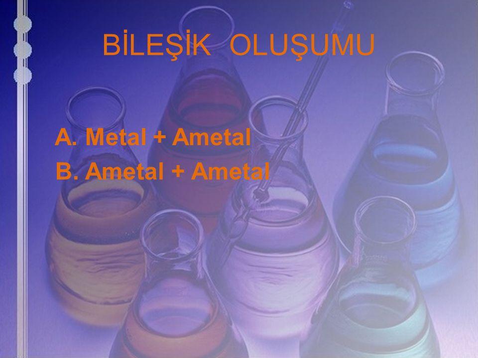 BİLEŞİK OLUŞUMU A. Metal + Ametal B. Ametal + Ametal