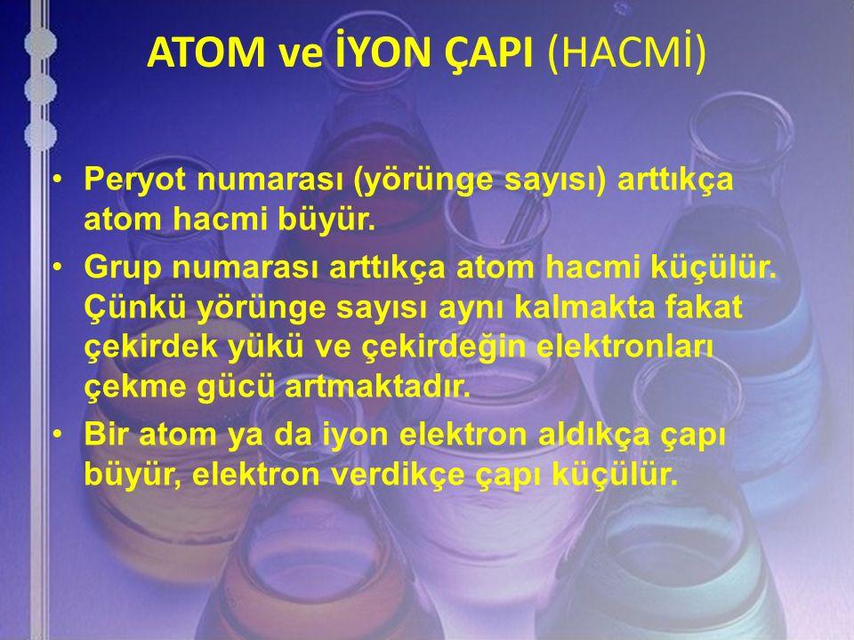 ATOM ve İYON ÇAPI (HACMİ) Peryot numarası (yörünge sayısı) arttıkça atom hacmi büyür. Grup numarası arttıkça atom hacmi küçülür. Çünkü yörünge sayısı
