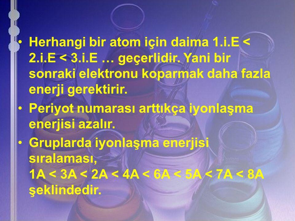 Herhangi bir atom için daima 1.i.E < 2.i.E < 3.i.E … geçerlidir. Yani bir sonraki elektronu koparmak daha fazla enerji gerektirir. Periyot numarası ar